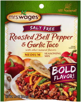 Mrs.Wages® Salt Free Medium Roasted Bell Pepper & Garlic Taco Seasoning Mix  1.0 oz.