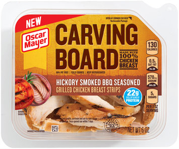 Oscar Mayer Carving Board Hickory Smoked BBQ Seasoned Grilled Chicken Breast Strips 6 oz. Tub