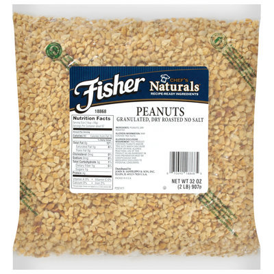 Fisher® Chef's Naturals® Granulated, Dry Roasted No Salt Peanuts 32 oz. Bag