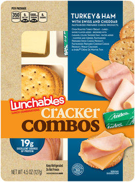 Lunchables Cracker Combos Turkey & Ham with Swiss & Cheddar