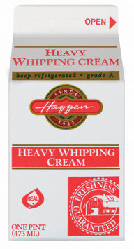 Haggen Heavy Grade A Whipping Cream 1 Pt Carton