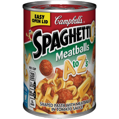 Campbell's SpaghettiOs A to Z's Shaped Pasta with Meatballs in Tomato Sauce