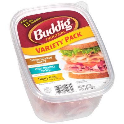 Buddig™ Original Variety Pack Honey Roasted Turkey/Oven Roasted Turkey/Honey Ham with Natural Juices 24 oz. Tub