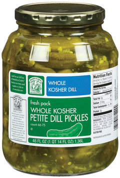 Bakers & Chefs Whole Kosher Petite Dill  Pickles 46 Fl Oz Jar
