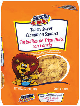 Special Value Toasty Sweet Cinnamon Squares Cereal 32 Oz Bag