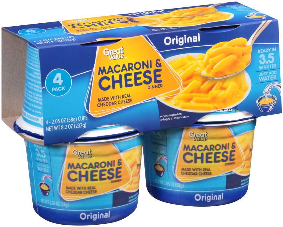 Great Value™ Original Macaroni & Cheese Dinner 4-2.05 oz Cups