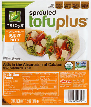 Nasoya® TofuPlus® Sprouted Organic Super Firm Tofu 12 oz. Tray