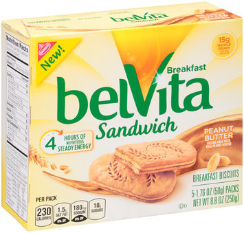 belVita Sandwich Peanut Butter Breakfast Biscuits 5-2 ct Packs