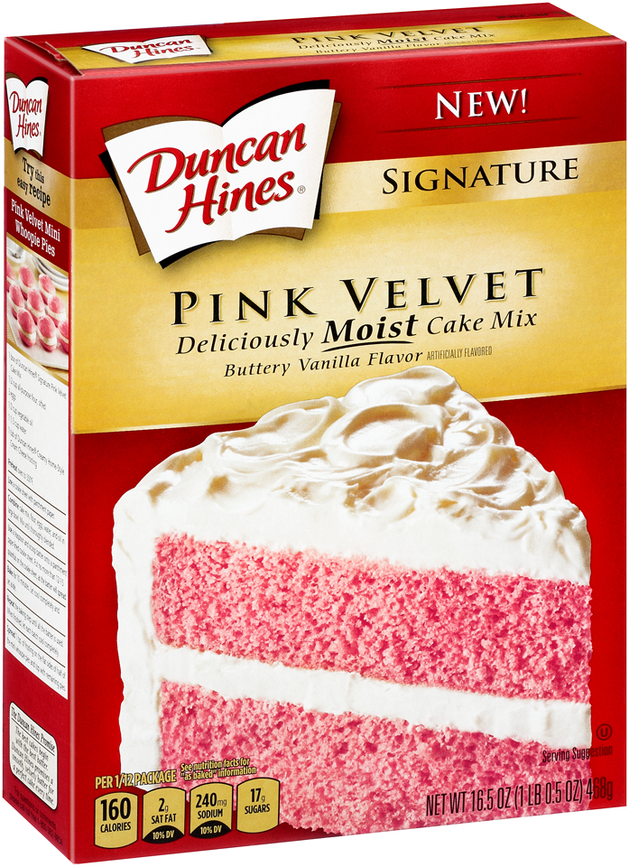Duncan Hines® Signature Pink Velvet Buttery Vanilla Flavor Cake Mix 16.5 oz. Box
