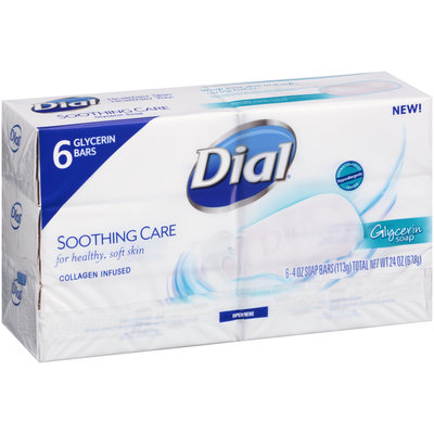 Dial® Soothing Care Glycerin Soap 6-4 oz. Bars