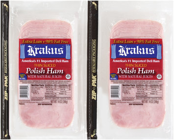Krakus Thin Sliced Polish Ham with Natural Juices 14 oz Package