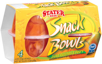 Stater Bros. Diced Peaches & Pears Snack Bowls 4 Ct Sleeve
