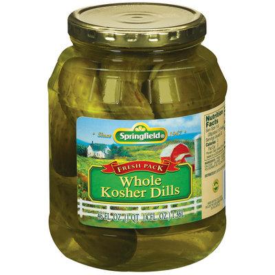 Springfield Whole Kosher Dills Pickels 46 Fl Oz Jar