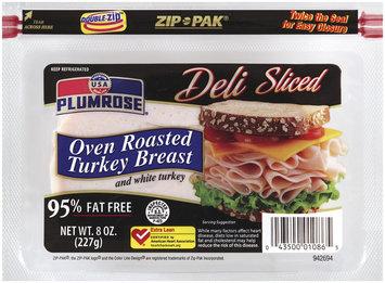 PLUMROSE & White Turkey 95% Fat Free Oven Roasted Turkey Breast 8 OZ ZIP PAK