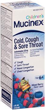 Children's Mucinex® Cold, Cough & Sore Throat Mixed Berry Flavored Multi-Symptom Cold Liquid 4 fl. oz. Bottle