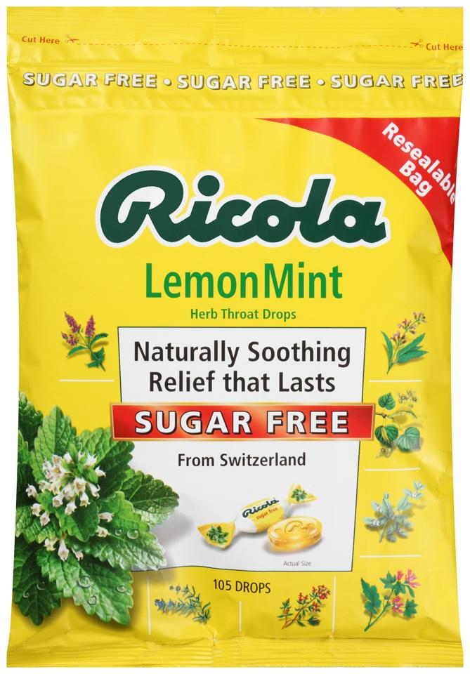 Ricola Lemon Mint Sugar Free Herb Throat Drops 105 ct Bag