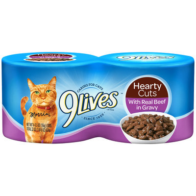 9Lives Hearty Cuts with Real Beef in Gravy Wet Cat Food, 4/5.5-Ounce Cans (Pack of 6)