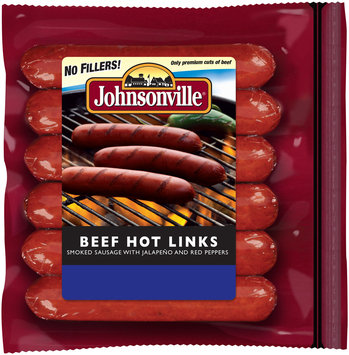 Johnsonville Smoked Beef Hot Links 12oz zip pkg (101684)