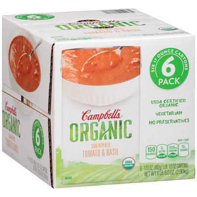 Campbell's® Organic Sun-Ripened Tomato & Basil Bisque 6-17 oz. Cartons