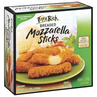 Farm Rich Mozzarella Breaded 66-76 Ct Cheese Sticks 4.5 Lb Box
