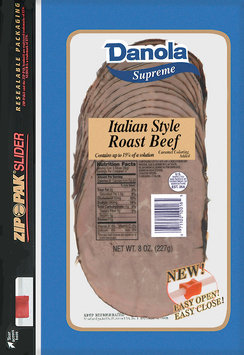 Danola Supreme  Sliced Roast Beef Italian Style 8 Oz Zip Pak