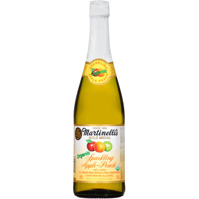Martinelli's® Gold Medal® Organic Sparkling Apple-Peach 100% Juice 25.4 fl. oz. Bottle