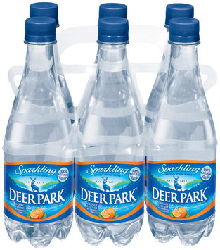 Deer Park Sparkling Natural Spring Water Orange Essence .5L Single & 6 Pk Plastic Bottles