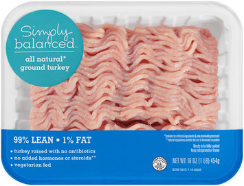Simply Balanced™ All Natural Ground Turkey 99% Lean 1% Fat 16 oz. Tray