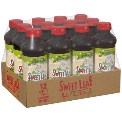 SWEET LEAF ICED TEA, Unsweet Lemon Lime 16-ounce plastic bottles