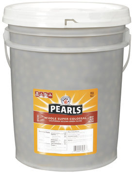 PEARLS Whole Super Colossal Sicilian Green Olives 28 LB PAIL