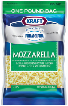 Kraft Natural Cheese Mozzarella W/Touch of Philadelphia Shredded Cheese 16 Oz Peg