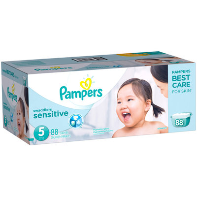 Premium Pampers Swaddlers Sensitive Diapers Size 5 88 count