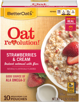 Better Oats® Oat Revolution!® Strawberry & Cream Instant Oatmeal with Flax Cereal