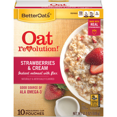 Better Oats® Oat Revolution!® Strawberry & Cream Instant Oatmeal with Flax Cereal 12.3 oz. Box