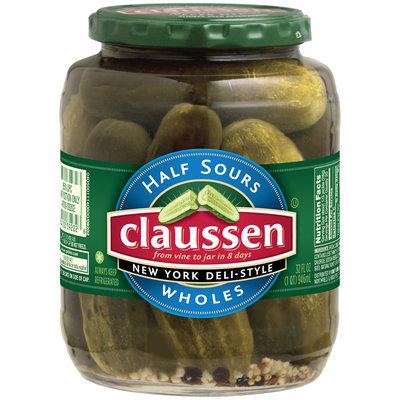 Claussen Half Sours New York Deli Style Wholes Pickles 32 Oz Jar