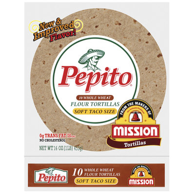 Pepito Flour Whole Wheat Soft Taco Size 10 Ct Tortillas 16 Oz Bag