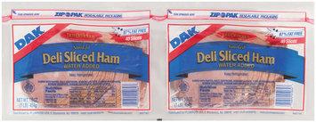 Dak Deli Sliced Smoked 97% Fat Free 16 Oz Sliced Ham 2 Pk