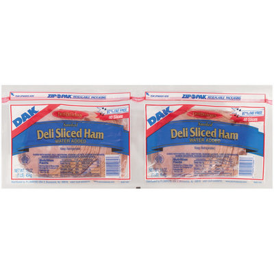 Dak Deli Sliced Smoked 97% Fat Free 16 Oz Sliced Ham 2 Pk