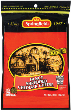 Springfield Fancy Shredded Cheddar Cheese 8 Oz Peg