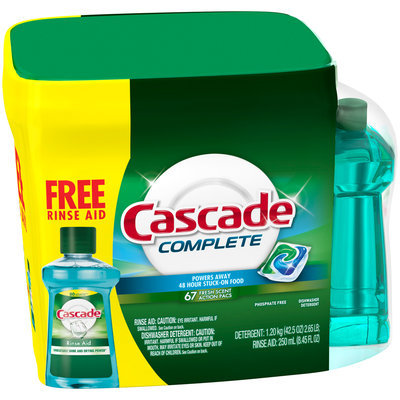 Cascade® Complete™ ActionPacs™ Dishwasher Detergent Fresh Scent Rinse Aid, Dishwasher Rinse Agent
