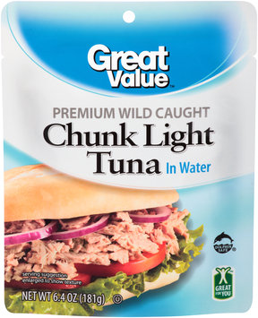 Great Value™ Premium Wild Caught Chunk Light Tuna in Water 6.4 oz. Pouch