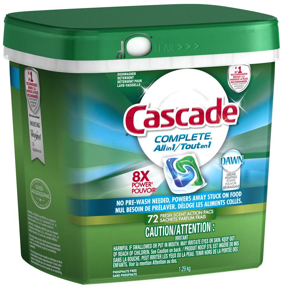 Cascade ActionPacs All-in-1 Lemon Burst Scent Dishwasher Detergent 72 ct Tub