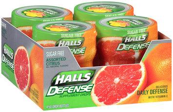 Halls Defense Vitamin C Assorted Citrus Supplement Drops Sugar Free 4 Pk, 50 ct Plastic Containers