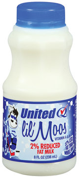 UNITED DAIRY Lil' Moos 2% Reduced Fat Milk 8 OZ PLASTIC BOTTLE