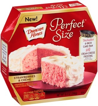 Duncan Hines® Perfect Size™ Strawberries & Creme Cake & Frosting Mix 9.4 oz. Box