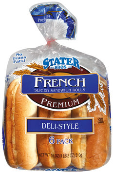 Stater Bros. French Deli Style Sliced Sandwich Rolls 18 Oz Bag