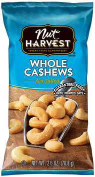 Nut Harvest® Sea Salted Whole Cashews 2.5 oz. Bag