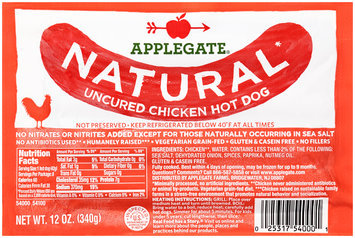 Applegate® Natural* Uncured Chicken Hot Dog 12 oz. Pack