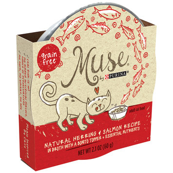 Muse by Purina Natural Herring & Salmon Recipe in Broth with a Bonito Topper Cat Food 2.1 oz. Tub