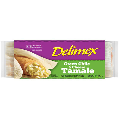 Delimex® Green Chile & Cheese Tamale 4 oz. Wrapper